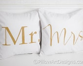 Couples Pillows Mr and Mrs White Cotton Twill 16 X 16 Hand Painted Made in Canada