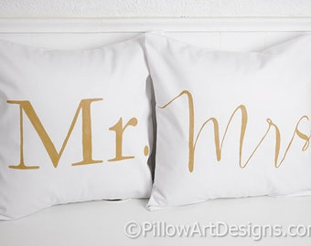Mr and Mrs Pillow Covers 16 X 16 Square White Cotton Twill Hand Painted Made in Canada