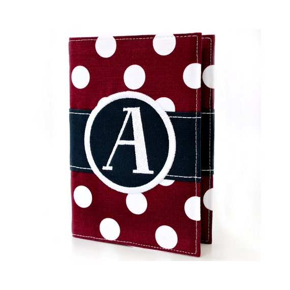 Burgundy Big Dots Personalized Journal - You select, fabric, frame, and font - Monogrammed sketchbook - Personalized gift - Lined journal