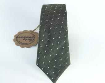 "Men's Tie - Olive & White Pin Dot Linen - Hunter Green Chambray Polka Dot Necktie - Super Skinny 2.5"" Width - In Stock"