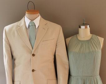 Dusty Shale Tie Necktie - J.Crew J. Crew Inspired Dusty Shale Mens Tie - Linen Grey Green Ties - Matches BHLDN Sea Glass - mens neckties
