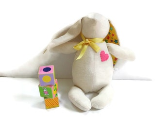 White bunny, stuffed bunny rabbit doll, Easter bunny toy, yellow ears, cream white, plush bunny, soft bunny, gift under 30