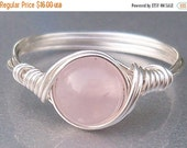 30% OFF Rose Quartz Ring,  Stone Ring, Argentium Sterling Silver Ring, Wire Wrapped Ring