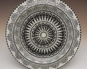 Black and White Mandala Platter