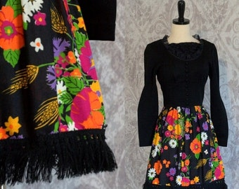 Vintage 1960s Mini Dress Floral Hippie Dress 60s Mod Mini Dress with Lace and Fringe Womens Size Small