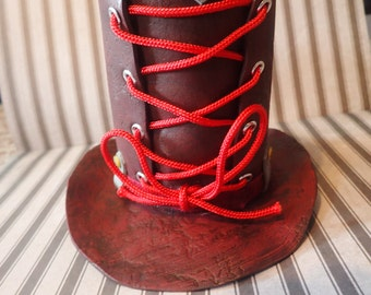 Mini leather corset look mini Top Hat hat accessory w hair clips top hat lace up corset hat