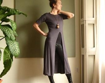 Boho Tunic Minimalist Shift Dress Short Sleeve Summer Dress Round Neck Drop Shoulder Midi  Dress Rayon/Spandex  XS - L (More Colours)