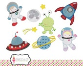Space machine embroidery design set. BLAST OFFFF.... Astronaut embroidery for a touch of adventure. Fun space embroidery with rocket, alien