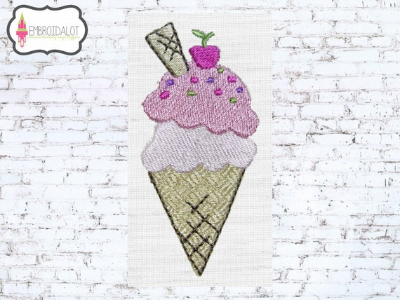 Ice Cream machine embroidery design.  Ice cream embroidery design. Great fun summer embroidery adds a sweet touch.