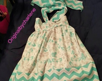 Custom Made OOAK Aqua Butterfly and Chevron Halter Sundress