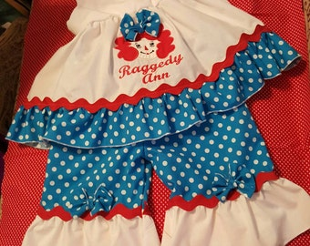 Boutique OOAK Custom Made Raggedy Ann dress and Pantaloons Set