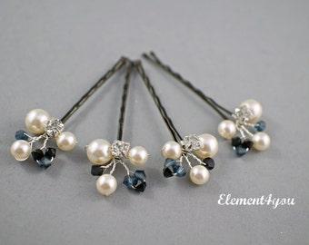 Ivory Pearl Clip, Navy Blue Black Crystals Bridal Hair Pins, Wedding Hair Accessories, Pearl Wedding Hair Pins, Set of 4, Floral Vines clips