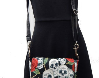 "USA Handmade  Fanny Pack Style With "" Skulls Red Roses Tattoos""  Pattern Shoulder Bag Handbag Purse, 2 STYLES IN 1 , Cotton, New"