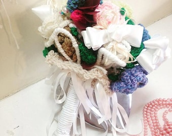Wedding accessory Bridal  Bouquet everlasting knitted posy  pink, cream red white turquoise green