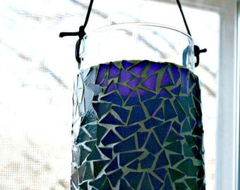 Purple Stained Glass Mosaic Hanging Candle Holder / Vase - 4.5 Inches