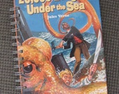 Children's Classic Recycled Journal Jules Verne 20000 Leagues Under the Sea Repurposed Book