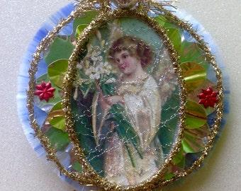 Vintage Look Angel Christmas Ornament Victorian-Copy Of 1910 German Postcard,German Tinsel,Spun Glass,Vintage Glass Beads,Vintage Reflector