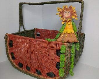 Vintage Watermelon Basket - Wicker Basket - Red / Green Basket - Beads for Seeds -