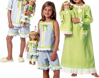 Dolly and Me Nightgown Pattern, Dolly and Me Short Pajama Pattern, Butterick Sewing Pattern 6125