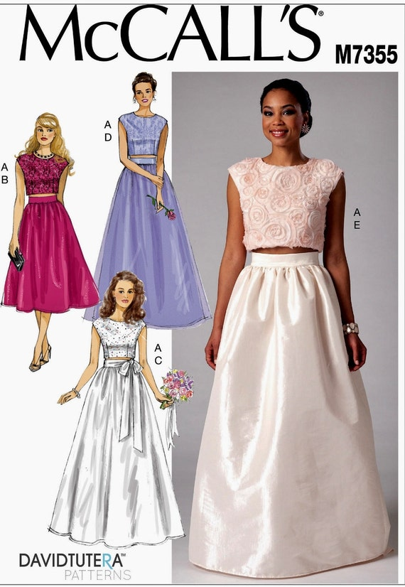 Evening Dress Pattern Formal Skirt and Top Pattern Wedding