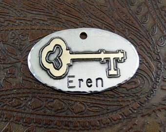 Handmade. Skeleton Key, Dog ID Tag-Personalized Dog Collar Tag, Pet ID Tag-Custom Old Fashion Key Dog Collar ID Tag