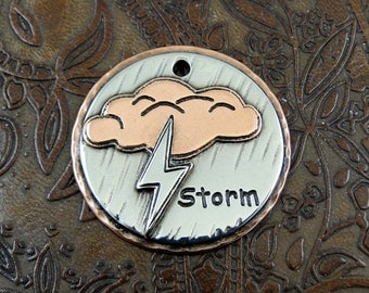 Custom Storm Dog ID Tag-Pet Collar ID Tag-Dog Storm ID Tag-Storm Keychain Fob or Luggage Tag