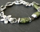 Artisan Sterling Silver Idocrase Vesuvianite Bracelet Chain Charm Bracelet Green Stone Moss Green Woodland Olive Flower Earrings