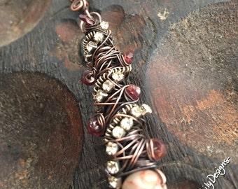 Tangled pendant with Garnets, Rhinestones, and Marble, ThePurpleLilyDesigns