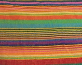 Ethnic Mexican Colorful Bright Orange Striped Fabric Yard Cambaya