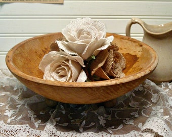Turned Wood Bowl - Footed Wood Bowl - Salad Bowl - Serving Wood Bowl - Farmhouse Decor - Round Ball Footed Wood Bowl