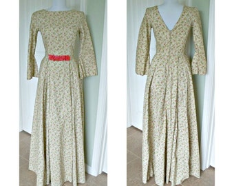 Vintage 1970's dress - bell sleeves, fitted bodice, cotton, long full skirt