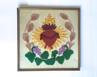 Sacred Heart Embroidered Wall Art Framed Chenille FiberArt Vintage Religeous