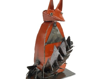 Metal Fox Sculpture Woodland Decor Metal Art