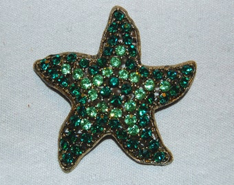 Vintage / Weiss / Brooch / Star Fish / Green / Rhinestones / designer / signed / old jewelry jewellery