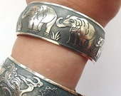 Silver Elephant Bracelet, Elephant Bangle, Slate Gray Patina, Silver Bangle, Boho Jewelry, Ethnic, Elephant Jewelry