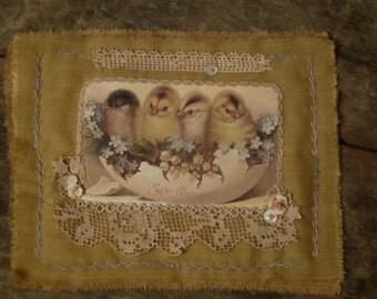 Vintage Lace Ticking Mini Quilt Collage  Easter Gladness Chicks