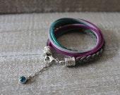 Boho bracelet, gray violet bracelet suede bracelet boho chic, bohemian bracelet double wrap bracelet, boho colorful bracelet
