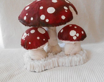 Large Mushroom Soft Sculpture Spotty red and White Mushroom Amanita Muscaria 1ft Tall 1ft Wide