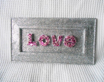 LOVE 3D Glittered art work pink Silver Shabby Chic Framed