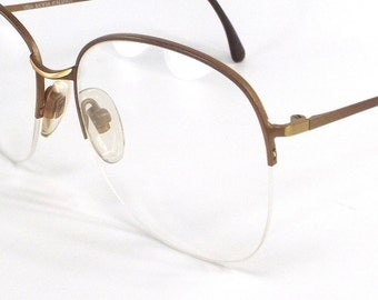 vintage 80s deadstock round half rim eyeglasses frames matte brown beige neutral gold bronze metal eye glasses viva italy italian unisex 92