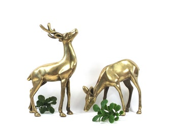 vintage 60s 70s brass deer figurine set pair antlers reindeer buck doe decorative home decor rustic cabin cottage chic modern standing metal