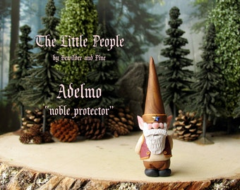 Adelmo - Miniature Nisse - Household Gnome or Elf Figurine - Helpful Spirit - Little People by Bewilder and PIne - Polymer Clay Sculpture