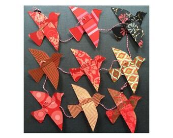 Paper Bird Garland - REDS - Wedding Garland - Party Garland - Bird Garland - Wedding Decor - Home Decor - Party Decor - Nursery Decor