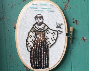 Saint Francis Hoop Art - St. Francis Hoop - Gift for Pet Lover - Embroidery  - Saint Wall Art - Folk Art - Inspired by Mexican Folk Art