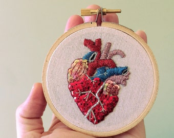Valentines Gift - Anatomical Heart Hoop Art - Anatomical Art - Mexican Folk Art Inspired - Unique Romantic Gift - Gift for Doctor