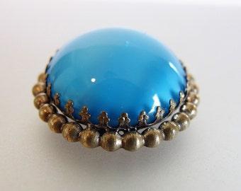 Lovely Vintage 1930's Deco Blue Glass Cabochon  Brooch