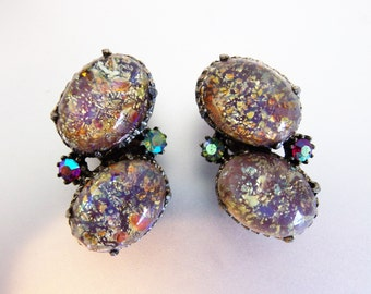 Pretty Vintage Foil Glass Earrings with Aurora Borealis Accents