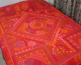 South Asian Needlepoint Folk Art Nakshi Kantha Quilt