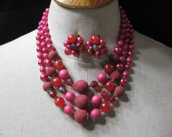 Vintage Made in Japan 3 Strand Necklace & Earrings Set Shades of Pink