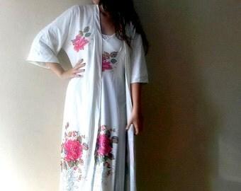 Vintage nightgown set, Vanity Fair beige sleepgown robe set,  wrap robe, Nightgown & Robesleepwear,